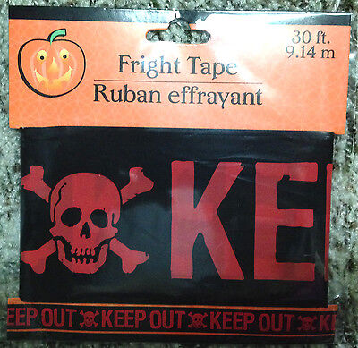 Zombie Fright Caution Tape-KEEP OUT-Halloween Party Prop Decoration-RED Skull - Caution Keep Out Tape