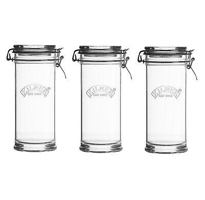 Set of 3 Kilner 1Litre Preserving Glass Jars Clip Top Lid Food Storage Container