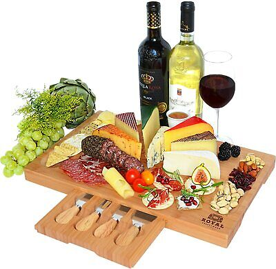 Bamboo Cheese Board, Charcuterie Platter, Serving Tray & Knife Set (Fancy Gift)