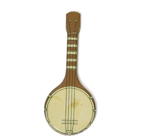 1931 CRACKER JACK PRIZE TIN LITHO BANJO MUSICAL INSTRUMENT VINTAGE METAL TOY