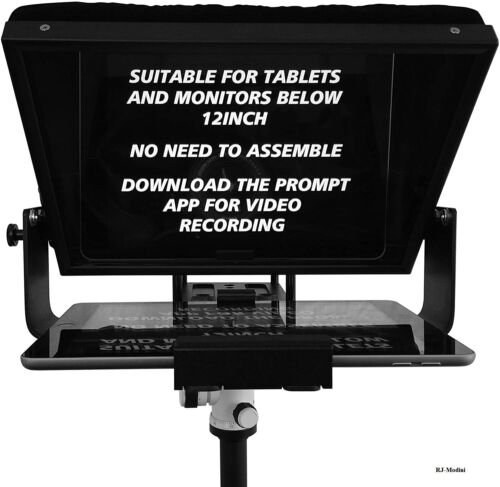 """12"""" Large screen Teleprompter fits 10"""" Tablet-iPad-Smartphone - High-quality"""