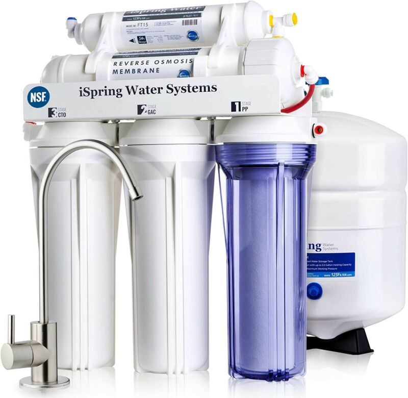 iSpring RCC7 5-Stage 75GPD Reverse Osmosis Water Filter System RO Filtration