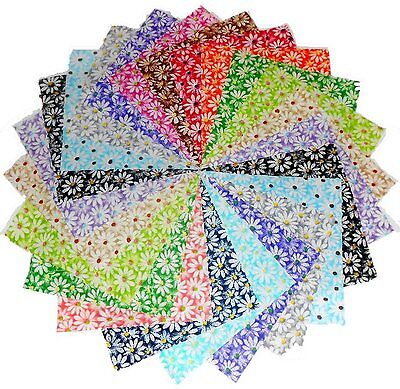 30 5 Inch Quilting Fabric Sqs/beautiful Crazy Daisy Charm Pack!!!!
