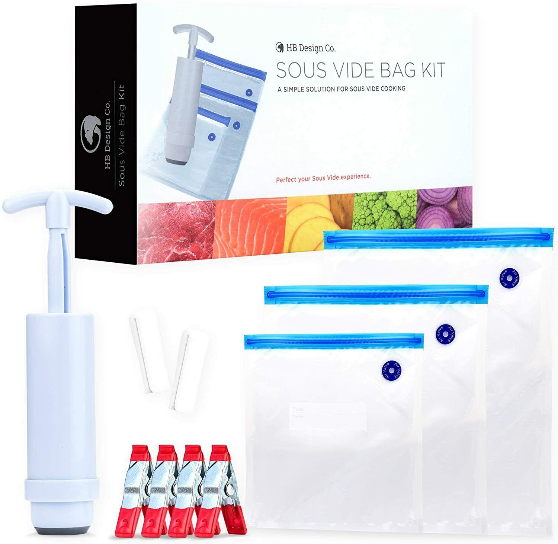 30 Reusable Vacuum Bags, Hand Pump Vacuum Storage Bags For Food BPA Free, Clips Food Storage Bags