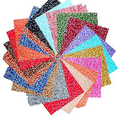 30 5 inch Quilting Fabric Squares Beautiful Freeway Swirls!