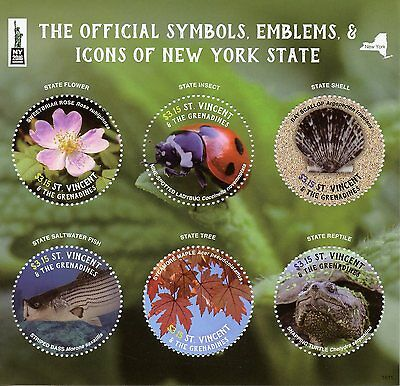St Vincent & Grenadines 2016 MNH Symbols Icons New York State NY2016 6v M/S