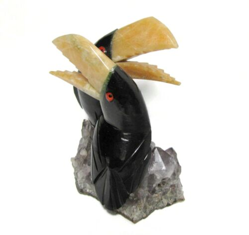 Natural Stone Hand Carved Toucan Bird Duo Figurine Gemstone on Amethyst Base