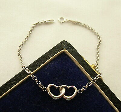 LOVELY ITALIAN HALLMARKED 9CT WHITE GOLD DOUBLE HEART CABLE CHAIN BRACELET - VGC