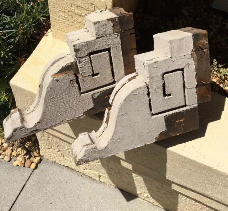 ANTIQUE pair VICTORIAN ARCHITECTURAL SALVAGE SHABBY CHIC WOOD CORBELS BRACKETS