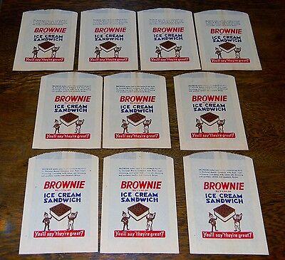 VINTAGE BROWNIE ICE CREAM ADVERTISING SANDWICH BAG LOT OF 10 UNUSED NICE ELVES Brownie Ice Cream Sandwich