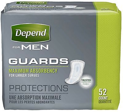 Depend For Men Incontinence Guards, Maximum Absorbency 52 ea
