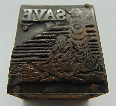 Vintage Printing Letterpress Printers Block Save Lighthouse Bird