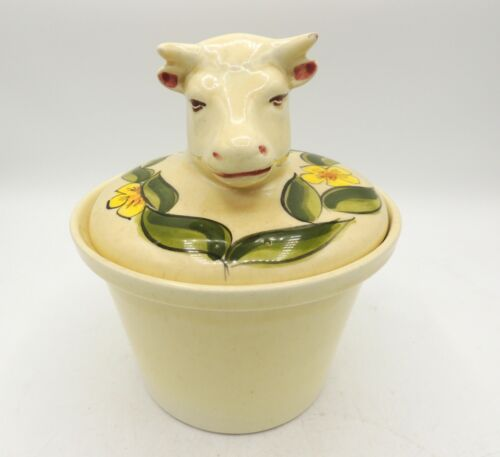 Los Angeles Potteries Covered Jar Bull Head Horns Hand Painted Vintage 70