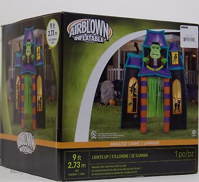 Halloween Gemmy 9 ft Lighted Animated Haunted House Archway Airblown Inflatable