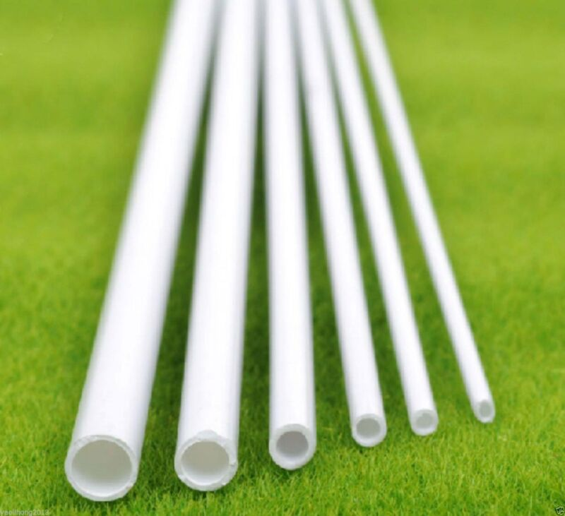 US Stock 10x OD 4mm x 250mm ABS Styrene Plastic Round Tube Pipe Diameter White