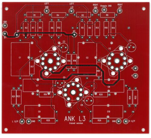 Phono stage RIAA PCB stereo ANK LP3 track version one piece !