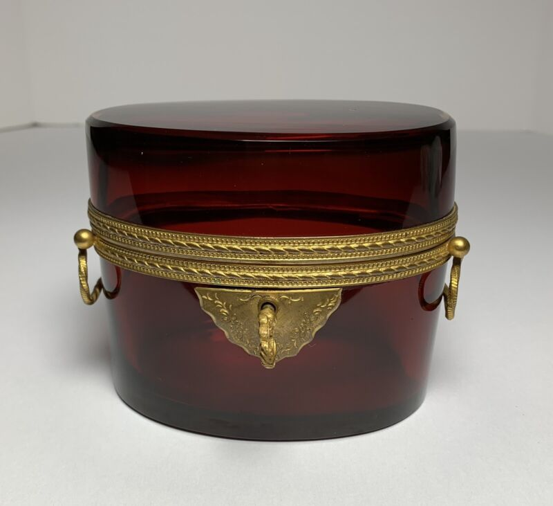 Antique FRENCH RUBY RED GLASS CASKET BOX GILT BRONZE ORMOLU MOUNTS Handled