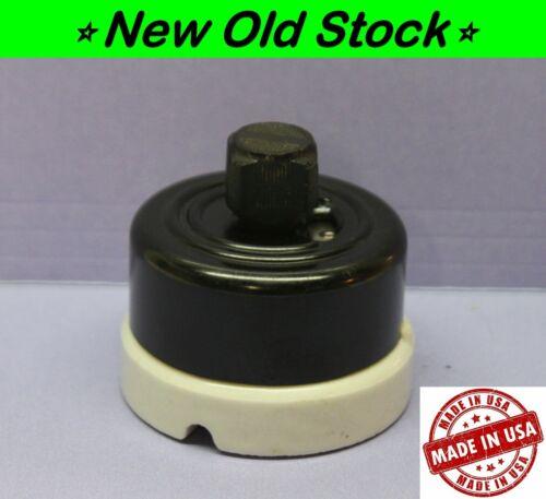 Vintage Rotary Round Light Switch, Single-Pole, ON/OFF,  Porcelain/Bakelite, H&H