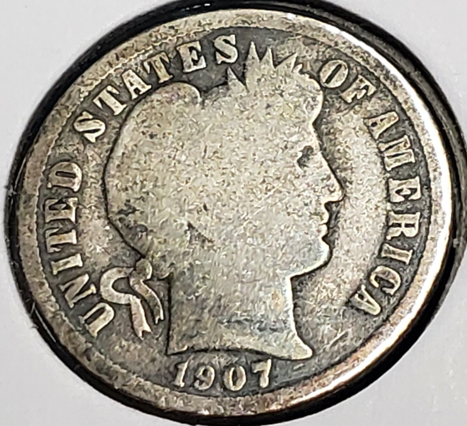 US Silver Dime 1907 S Barber G  - $1.10