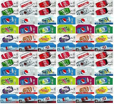 Qty 72 Coke Or Soda Machine Vending Label Pack - Late Style Four Of Each Strip