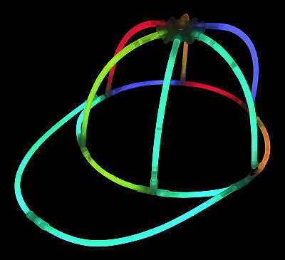 Glow Stick Hats (96x Glow in the Dark Caps Mixed Colour Glow Hats for Parties Festivals)