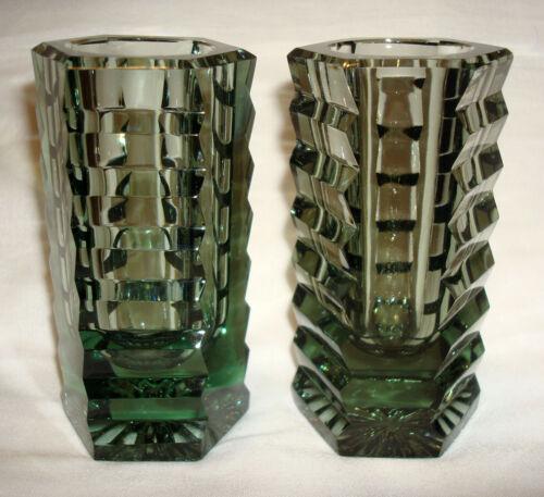 2 Vintage Moser Green Smokey Smoked Art Deco Cut Glass Stair Step Mini Vases
