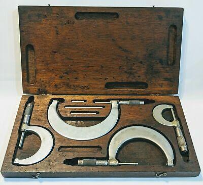 Vintage Tumico Tubular 4 Piece Micrometer Set Complete Original