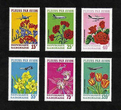 """Gabon 1971 """"Flowers by Air"""" complete set of 6 values (SG 410-415) MNH"""