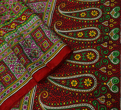 Vintage Red Saree Floral Printed Pure Silk Deco Craft Fabric 5 Yard. -PS58274