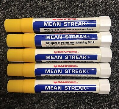 Lot Of 5 Sanford Mean Stick Markers Yellow Marking Sticks Dead Stock