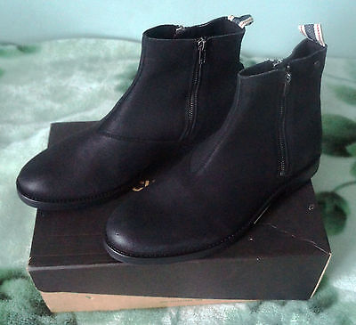 Brand New Jack & Jones Zippy Mens Waxed Suede Black Ankle Chelsea Boots Size 10 for sale  London