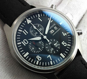 PARNIS AVIATOR MILITARY CHRONOGRAPH UHR OROLOGIO MONTRE WATCH