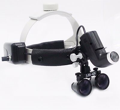 Dental Led Surgical Headlight 3.5x420mm Leather Headband Loupe Dy-106 Black