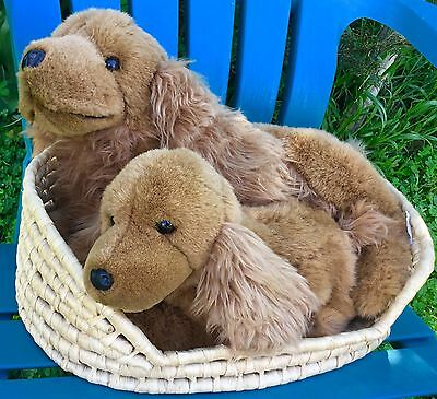 E&J CLASSIC COCKER SPANIEL MOM PUPPY DOG IN BASKET PLUSH STUFFED ANIMAL SOFT TOY