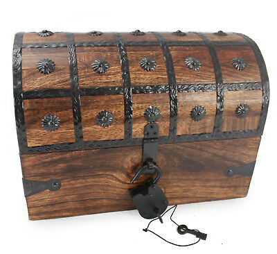 "WellPackBox Large 14""x9""x9"" Pirate Treasure Chest Box Antique Style Lock Skel"