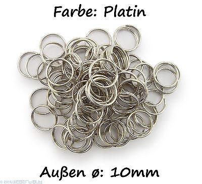 Schlüsselringe / split Rings 10mm Durchmesser Farbe Platin 15g ca.80 Stk