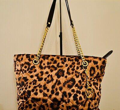 MICHAEL KORS JET SET LEOPARD PRINT CHAIN TOTE HANDBAG - RARE FIND Find Quilted Handbags