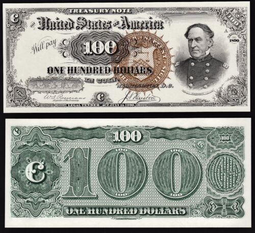 2 Proof Prints or Intaglios by BEP  Face & Back of 1890 $100 Treasury Note