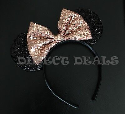 Minnie Mouse Ears Headband Shiny Black Sparkly Rose Gold Bow For Adult Kids - Minnie Mouse For Adults