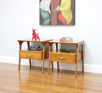 Pair Retro Mid Century Fred Ward Myrtle Bedside Tables + Drawers