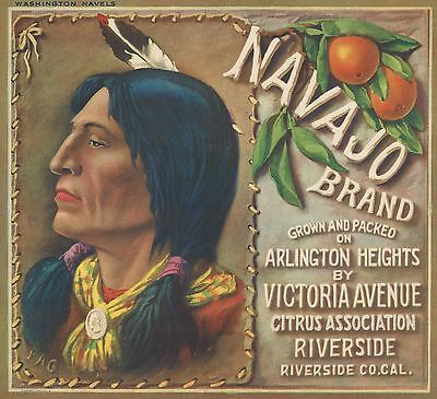 "RARE OLD ORIGINAL 1930 TEWA NATIVE ""NAVAJO BRAND"" LABEL ART RIVERSIDE CALIFORNIA"