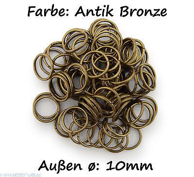 Binderinge / jump Rings 10mm Durchmesser Farbe Antik Bronze 15g ca. 80 Stk