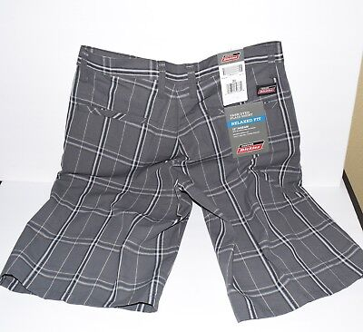 """genuine dickies yarn dyed plaid shorts relaxed fit 13"""" inseam cell phone pocket"""