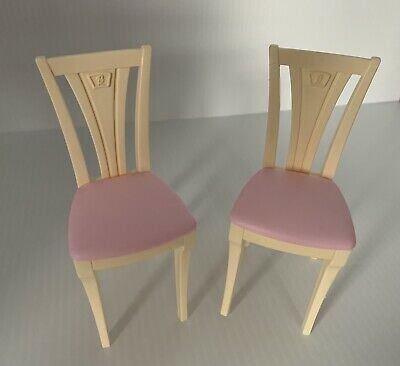 2 MATTEL BARBIE DOLL PINK & TAN REPLACEMENT CHAIRS