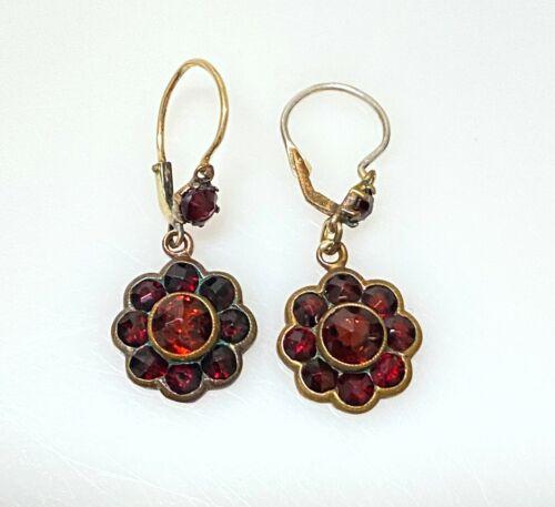 Antique Victorian Gold Doublé Dangle Drop Bohemian Garnet Lever Back Earrings