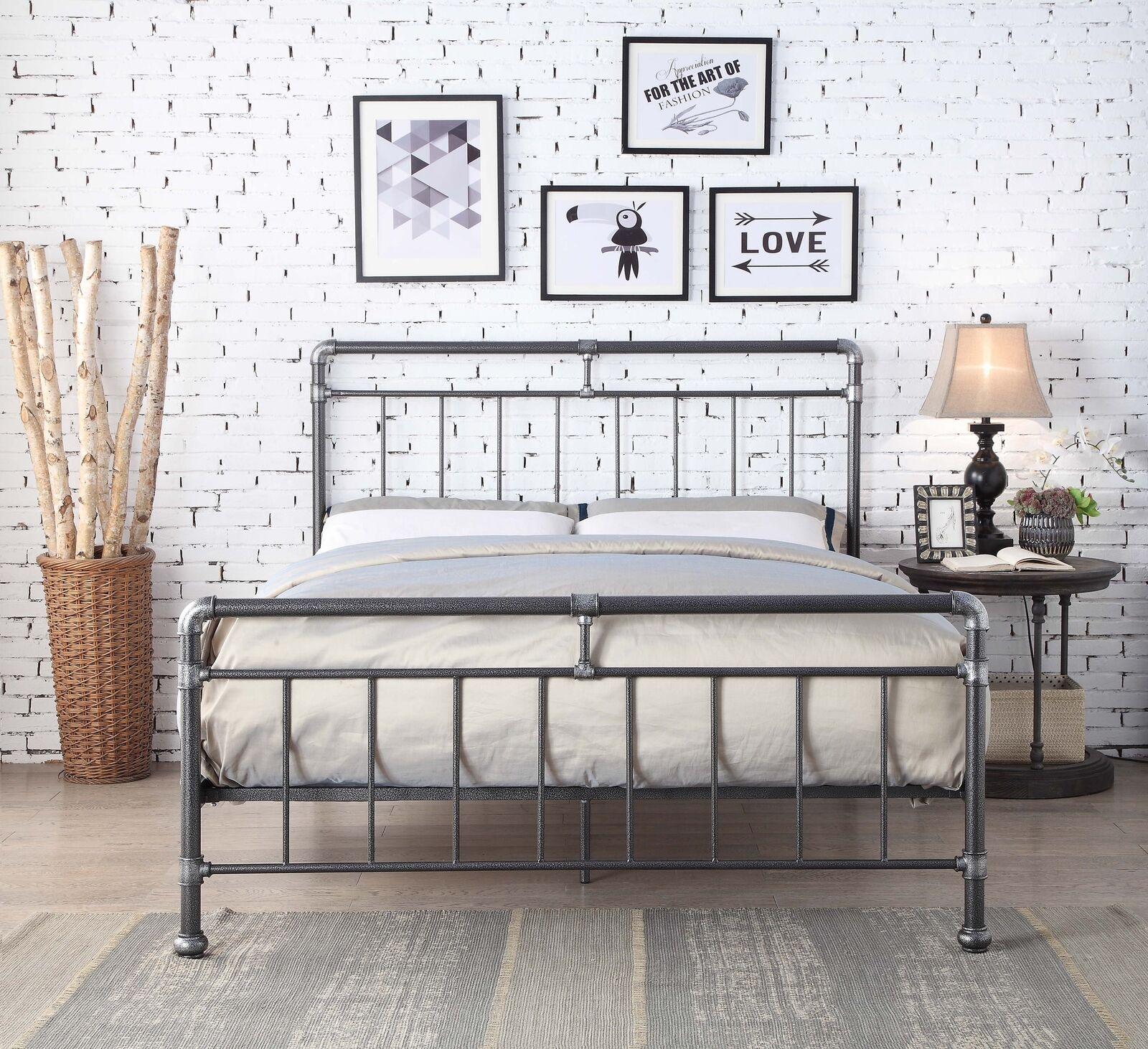 Bed Frames Divan Bases Detroit Metal Industrial Bed Frame Scaffold Pipe Silver Black Various Sizes Home Furniture Diy Quatrok Com Br