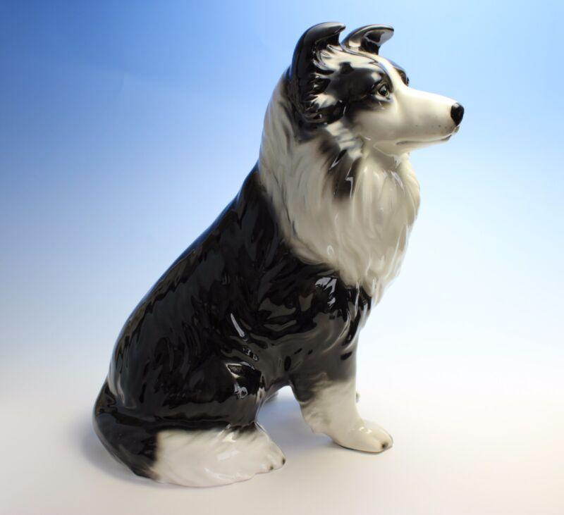 "Border Collie Indoor Statue Black and White Sitting Porcelain Dog 12""H Large"