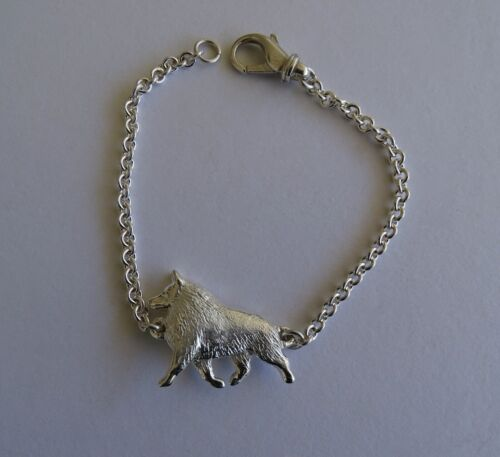 Large Sterling Silver Schipperke Moving Study Bracelet
