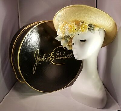 Straw Hat Jack McConnell Red Feather Roses Aurora Borealis AB Swarovski New Box for sale  London
