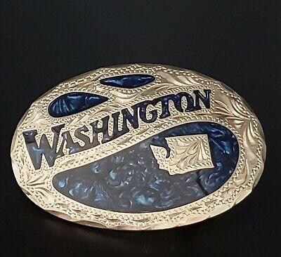 Vintage WASHINGTON Silver & Enamel Belt Buckle ~ Award Design Medals ~ Hand Made